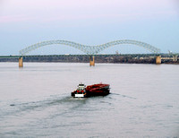 Mississippi River with Barge at Memphis' Hernando DeSoto Bridge 0087