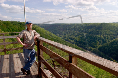 New River & Gorge from overlook at Class VI with James R in foreground Southern West Virginia 02.jpg